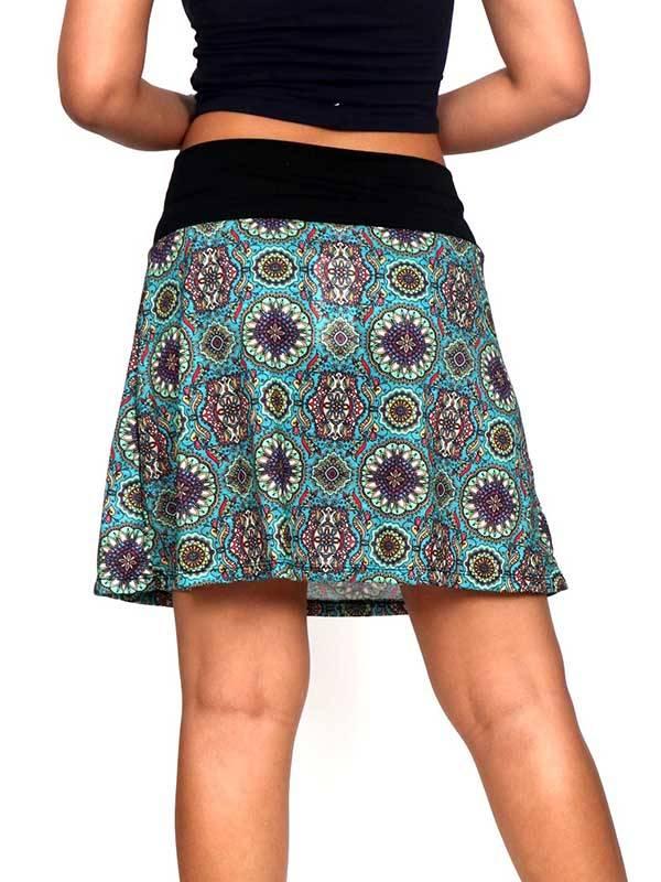 falda hippie corta de mandalas, verde de culo