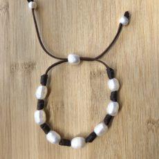 Pulsera de cuero y perlas, 10, foto 1