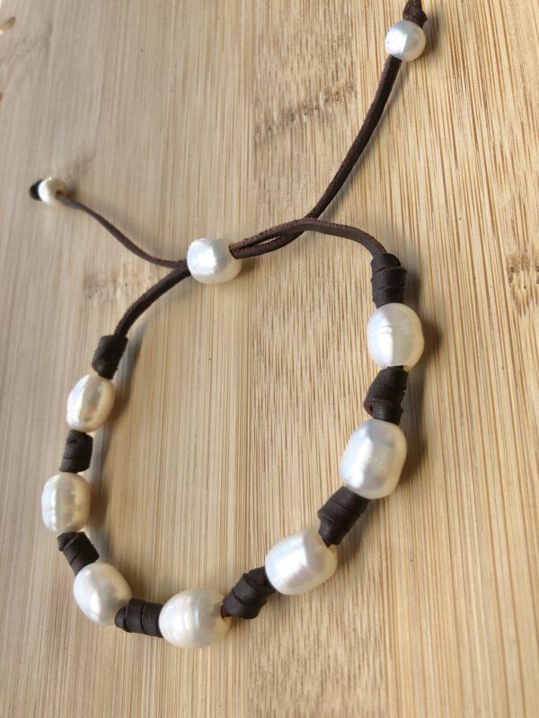 pulsera de cuero y perlas, 10. foto 2