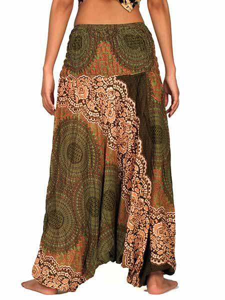 Pantalón afgano de mandalas, verde