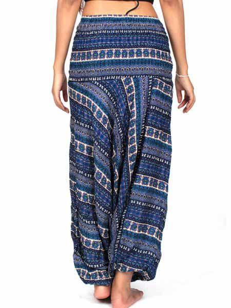 pantalón afgano estampado, azul
