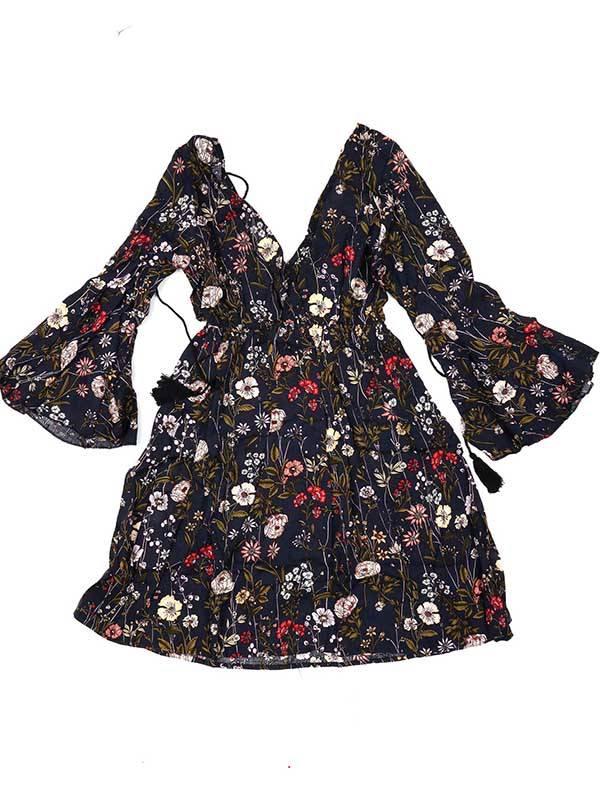 Vestido estampado de flores, negro