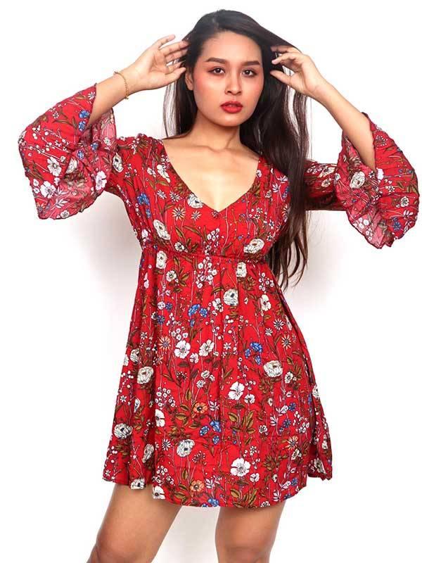 vestido estampado de flores, rojo