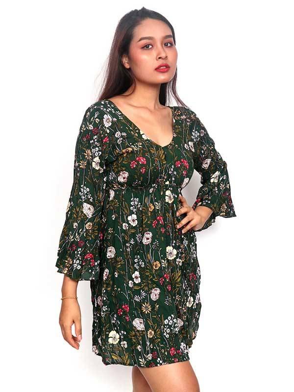 vestido de rayon con estampado de flores