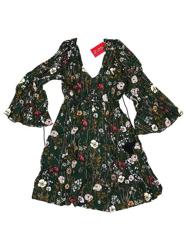 Vestido estampado de flores, verde